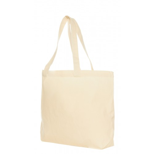 Canvas shopper met bodem, breed